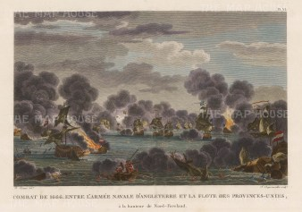 St James's Day Battle 1666 North Foreland. The English, under the command of the Duke of Albermarle and Prince Rupert of the Rhine, and the Dutch, under Admiral de Ruyter. Second Anglo-Dutch War.