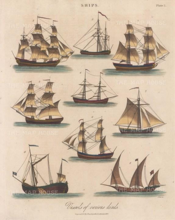 Ship converted to a Bark (1), Snow (2,) Bilander (3), Brig (4), Ketch (5), Schooner (6), Sloop (7), Zebec (8), Galliol (10).