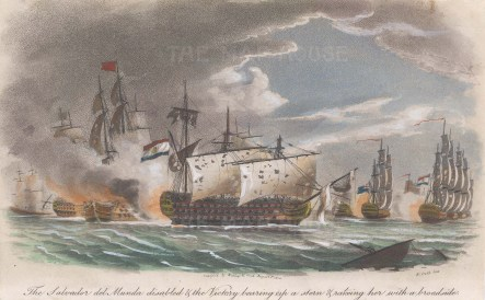 Battle of Cape St Vincent. The Salvador del Munda disabled by the Victory.