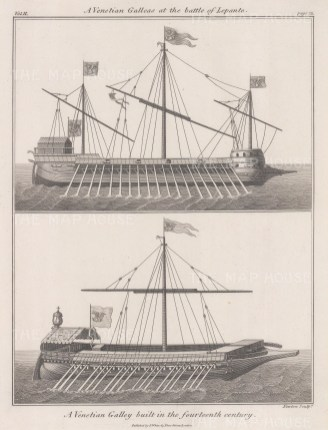 Battle of Lepanto 1571. Venetian Galleon built in the 14th century.