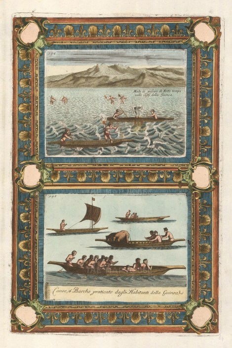 Double view with decorative border showing the method used for night fishing and the types of boats.