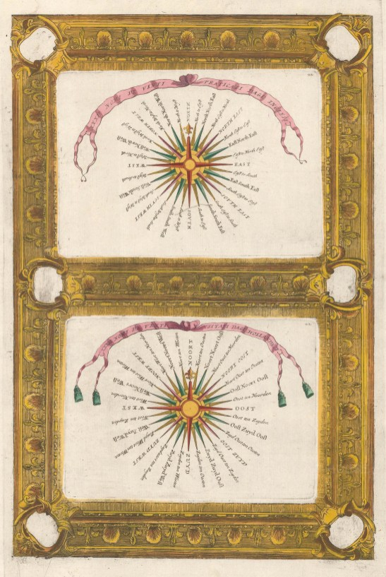 Double view with decorative border of the names of the Winds in English and in Dutch.