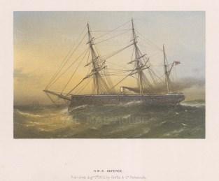 "Griffin & Co.: HMS Defence. 1872. An original antique chromolithograph. 9"" x 7"". [NAVp65]"