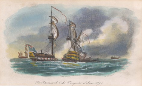 With a sinking Le Vengeur 1794. Revolutionary Wars.
