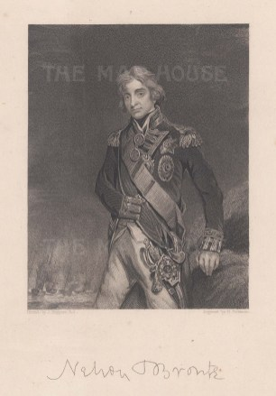 Horatio Nelson, 1st Viscount Nelson, 1st Duke of Bronté. With his signature below.
