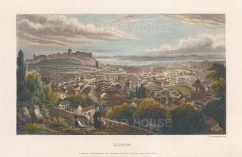 "Kelly: Lisbon, Portugal. c1840. A hand coloured original antique steel engraving. 8"" x 5"". [PORp190]"