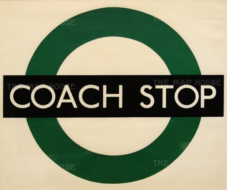 """Coach Stop: Request. Signage designed for London Transport by Hans Schlegel under the pseudonym """"Zero""""."""