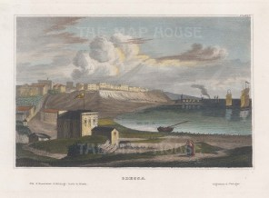 "Meyer: Odessa, Ukraine. 1836. A hand coloured original antique steel engraving. 6"" x 4"". [RUSp566]"