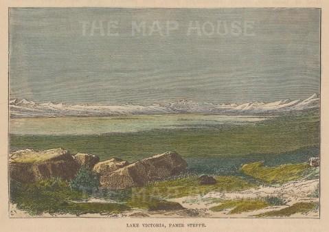 "Brown: Lake Victoria, Tajikistan. 1885. A hand coloured original antique wood engraving. 6"" x 4"". [RUSp704]"