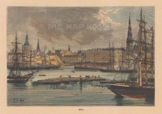 "Reclus: Riga, Latvia. 1894. A hand coloured original antique wood engraving. 7"" x 5"". [RUSp777]"