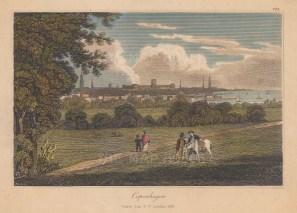 "Fisher: Copenhagen, Denmark. 1832. A hand coloured original antique steel engraving. 9"" x 7"". [SCANp237]"