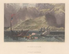 "Fullarton: Gibraltar. c1856. A hand coloured original antique steel engraving. 5"" x 4"". [SPp1093]"