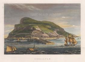 "Anonymous: Gibraltar. 1832. A hand coloured original antique steel engraving. 8"" x 6"". [SPp669]"