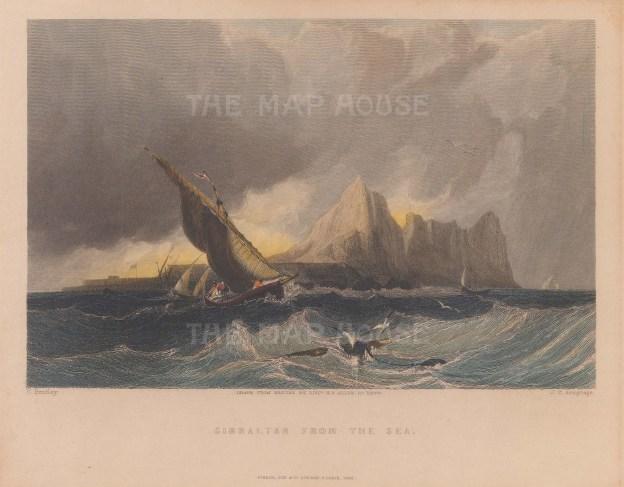 "Fisher: Gibraltar. 1840. A hand coloured original antique steel engraving. 8"" x 6"". [SPp826]"