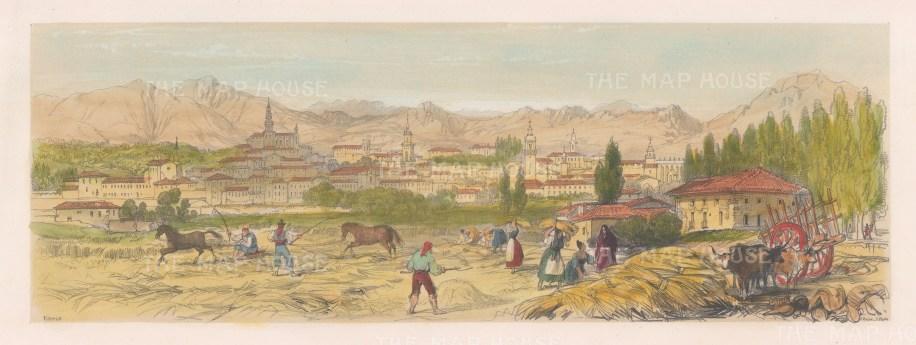 "Vivian: Vitoria, Spain. 1838. An original colour antique lithograph. 15"" x 5"". [SPp859]"