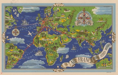 Reseau Aerien Mondial: Promotional postcard for Air France by Lucien Boucher centred on Paris marking the air routes to Europe, Asia, Africa and the Americas.