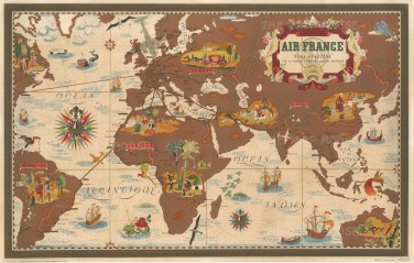 Nova et Vetera: Air France promotional map poster centred on Africa, Asia, and Europe with Air France's routes overlaid in red and highlighted with gold.