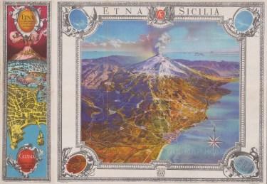 Etna Sicilia: Bird's eye view of Mt Etna with a plan of Catania.