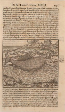 Hoga or Andura: Legendary South American monster fish Thevet claimed himself to have seen on his travels. With text in French.