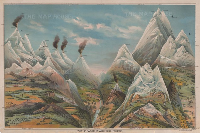 View of Nature in Ascending Regions: Comparative chart of the mountains, volcanoes and accomplished summits across the world.