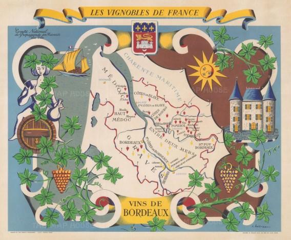 Vins de Bordeaux: Promotional poster series of the vineyards of France, showing Bordeaux's regions and grape varieties.