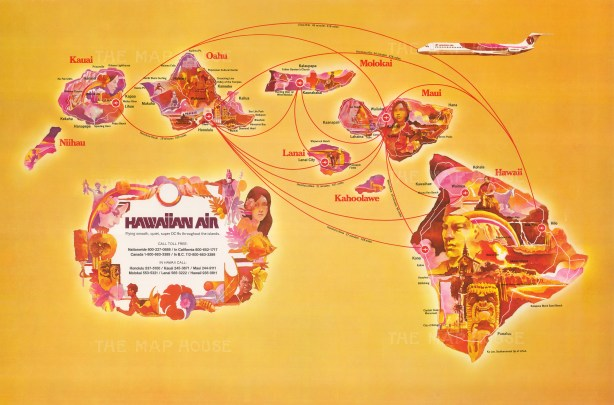 Hawaiian Air: Promotional poster showing Hawaiian Air's routes, distances and durations throughout the islands.