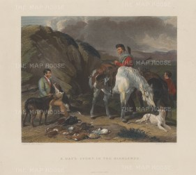 """Cassell & Co.: Day's Sport in the Highlands. c1900. A hand coloured original antique steel engraving. 18"""" x 13"""". [FIELDp1392]"""