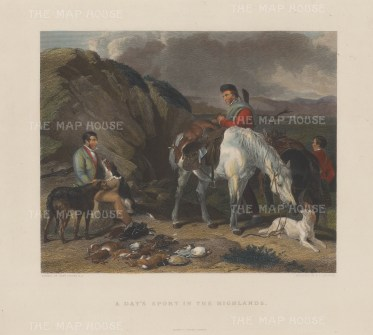 "Cassell & Co.: Day's Sport in the Highlands. c1900. A hand coloured original antique steel engraving. 18"" x 13"". [FIELDp1392]"