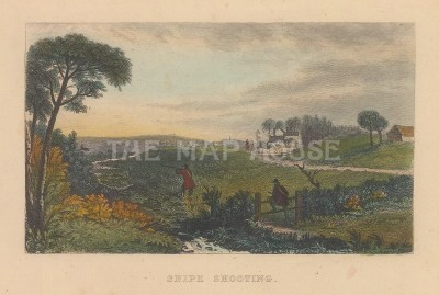 "Wood: Snipe Shooting. c1850. A hand coloured original antique steel engraving. 6"" x 4"". [FIELDp1471]"