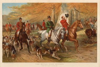 Royal Stag Hounds. The Prince of Wales and Lord Cork at the head of the hounds. After George Bouverie Goddard.