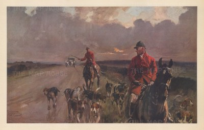 The King's Highway. Atmospheric scene of huntsmen leading weary hounds home with a motor car on the approach. By the artist known as 'the grand old man of British sporting art'.