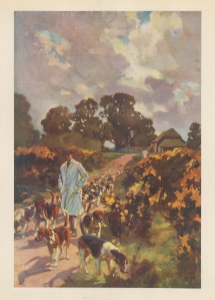 The Off Season. Huntsman walking out his hounds on a country lane By the artist known as '.the grand old man of British sporting art'.