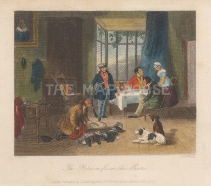 Return from the Moor. Interior lodge scene with party's bag.