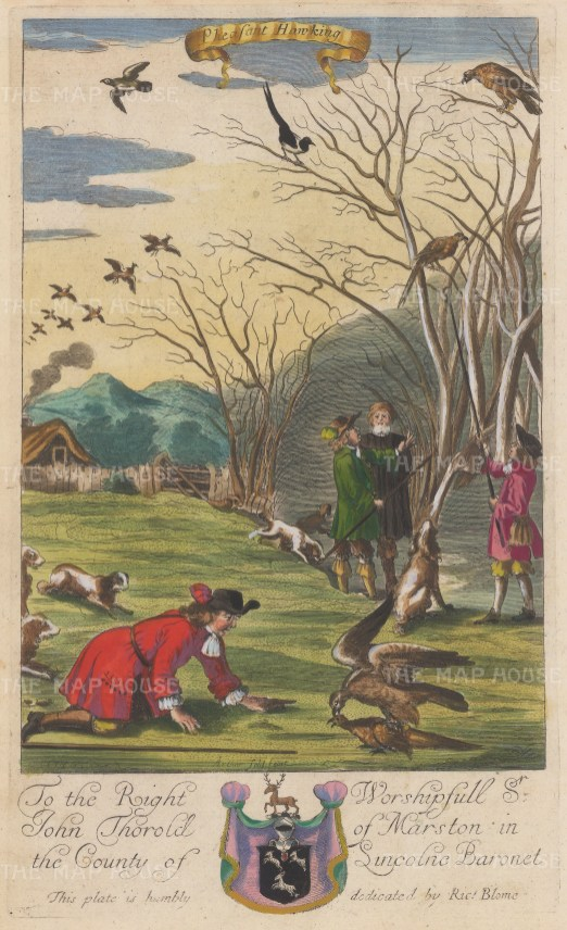 The precursor to pheasant shooting from Blome's important treatise on gentlemen's pursuits.