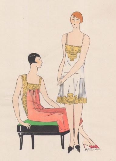 "Art Goute Beaute: Evening dress. 1912. An original colour antique woodcut. 11"" x 15"". [DECp1458]"