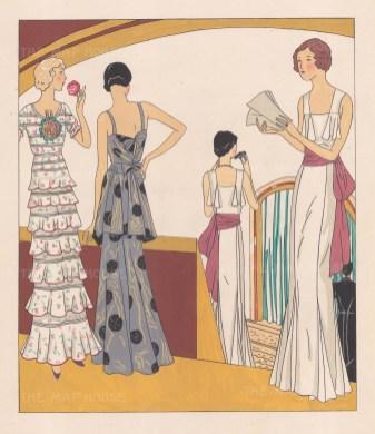 "Art Goute Beaute: Evening Dress. 1912. An original colour antique woodcut. 11"" x 13"". [DECp1459]"