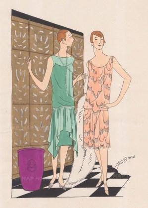 """Art Goute Beaute: Lingerie. 1925. An original colour vintage woodcut. 11"""" x 15"""". [DECp1460]"""