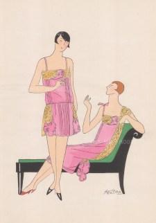 """Art Goute Beaute: Lingerie. 1925. An original colour vintage woodcut. 11"""" x 15"""". [DECp1461]"""