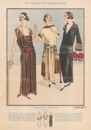 Premet. Garnitures Nouvelles. . Evening dresses Scarabee, Rabat and Cosaque from the couture house that created La Garconne or the 'Flapper'.