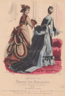 Day dress and walking dress with bustles.