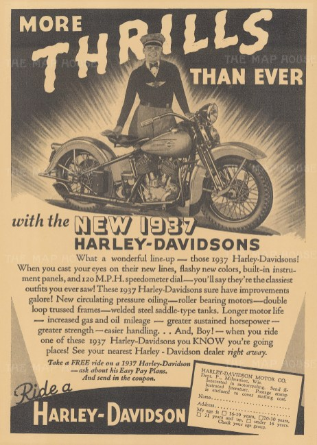 "Popular Mechanics: Harley Davidson. 1937. An original black & white vintage photo-lithograph. 11"" x 15"". [DECp1812]"
