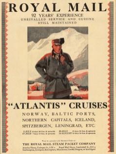 "Punch: Royal Mail 'Atlantis' Cruises. 1931. An original vintage chromolithograph. 8"" x 11"". [DECp1859]"