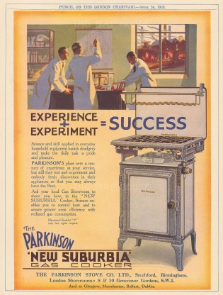 "Punch: Parkinson's New Suburbia Gas Cooker. 1929. An original vintage chromolithograph. 7"" x 10"". [DECp1928]"