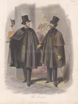 "Blacke & Son: Gentlemen Loungers. c1860. A hand coloured original antique steel engraving. 8"" x 10"". [DECp2044]"