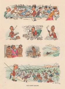 """Bateman: The Happy Escape. c1930. A hand coloured original vintage lithograph. 7"""" x 10"""". [DECp2131]"""