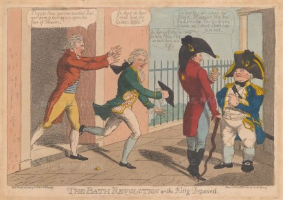 The Bath Revolution, or the King Deposed; James Heaven, master of the Lower Rooms, attempted to depose James King as Bath's Master of Ceremonies. Rear-Admiral Stanhope and Colonel Strode were included in the committee formed to support King.