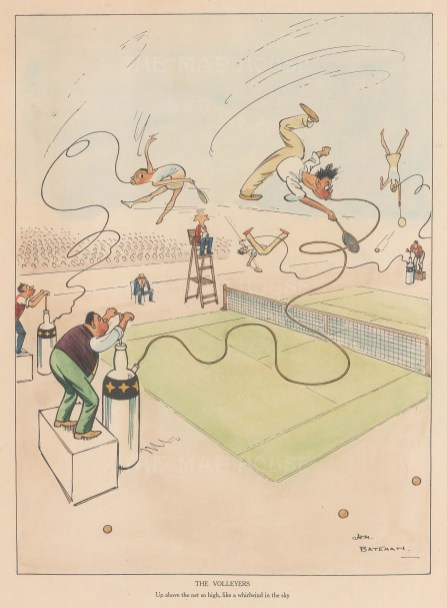"Bateman: Tennis. c1930. A hand coloured original vintage lithograph. 7"" x 10"". [DECp2203]"