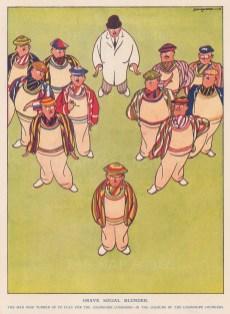 "Punch: Cricket. 1934. An original vintage chromolithograph. 7"" x 10"". [DECp2207]"