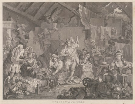 Hogarth: Strolling Players Dressing in a Barn. c1800. An original antique copper engraving. 22″ x 17″. [MISCp2959]
