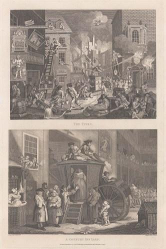 Hogarth: The Times & A Country Inn Yard. 1800. An original antique copper engraving. 12″ x 19″. [MISCp2984]